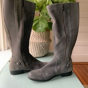 Women's tall gray suede boots